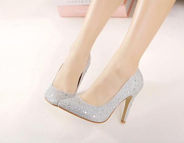 Оптом - 2015 crystal diamond silver Пром обувь женские туфли на высоком каблуке указал fine gold diamond свадебные туфли Sexy Bridemaid обувь