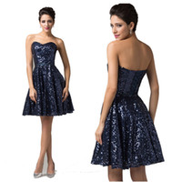 2014 Charming Mini Short Sequins Cocktail Dresses Strapless ...