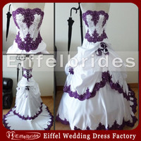Reference Images autumn shine - Custom made Fashionable Purple and White Wedding Dresses with Sexy Shining Beads Pearls Strapless and Stunning Hand made Flower Bridal Gowns
