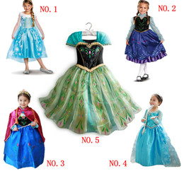 Wholesale In stock fast ship Frozen Elsa Anna Princess Dress character costume kids stage cosplay dresses Xmas Birthday Party outfit