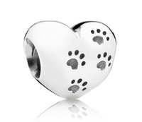 Wholesale 2014 New Sterling Silver Animal Paw Heart Charm With My sweet pet engraved DIY Pandora Style loose beads Jewelry
