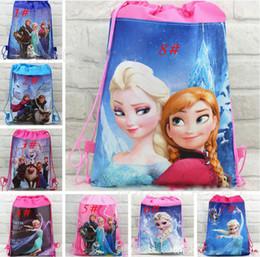 Wholesale 2014New Arrival Retail styles frozen drawstring bags Anna Elsa backpacks handbags children kids shopping bags present bag DHL shipping