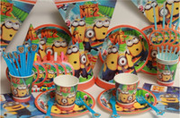 Wholesale 2014 New Luxury Kids Birthday Decoration Despicable ME2 Minions Theme Party Supplies Baby Birthday Party Pack