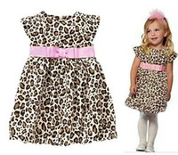 Wholesale Children Clothing Kid Baby Girl Sleeveless Summer Cotton Fashion Leopard Dress A line Pink Sash Bow Dress