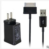 Wholesale US Plug Wall Charger Adapter USB Cable Charging Data Line for Samsung Galaxy Tab P1000 P5100 P3100 N5100 Tablet PC