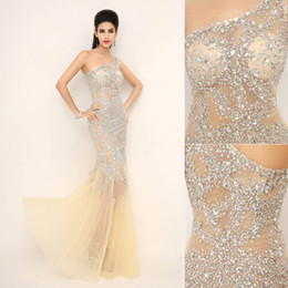 Wholesale 2014 Hot Sale In Stock Luxury Bodycon Fashion Sexy Mermaid Evening Dresses Tulle Crystal See Through Sheer Bridal Party Pageant Gowns XU0011