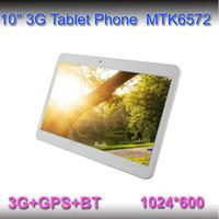 10 pouces WCDMA 3G appel téléphone tablette PC GPS bluetooth 1Go ROM 8G MTK6572 Dual Core 1,2 Ghz Dual Slot pour carte SIM caméra Wifi android 4.2 Phablet