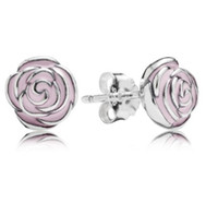 rose - 925 Sterling Silver Mothers Day Pink Enamel Rose Earring Studs For Women