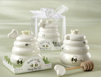 bee wedding favors - Fashion Hot Meant to Bee Honey Jar Ceramic Honey Pot with Wooden Dipper Wedding Party Favors Gifts set