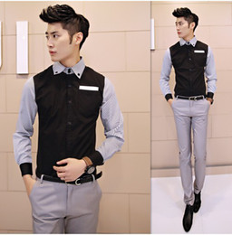 Wholesale 2014 S ring New Men s Fashion Dress Shirts Stripe Stitching Long Sleeve Shirts For Men Blue White C1034
