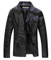 Wholesale 2014 New Mens Leather Jackets Solid Color One Button Blazer and Motorcycle Coats P01