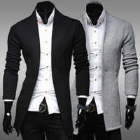 Wholesale Autumn Mens Sweaters Fashion No Buttons Solid Color Minimalist Slim Fit Brand Cardigan Pullover Colors Q30