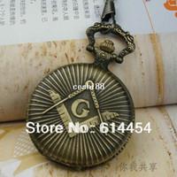 Wholesale Freemasonry Masonic Antique Brass plated Quartz Pocket Watch