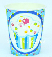 Wholesale blue and pink ice cream theme paper cup ml bag party decoration good quality cheap price party decortion