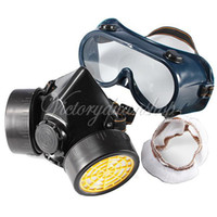 Cheap Wholesale - Industrial Gas Chemical Anti-Dust Spray Paint Respirator Face Mask Filter + Eye Glasses Goggles Set Free Shipping Twin Cartridge
