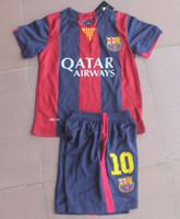 Wholesale 14 Barca Kids MESSI Soccer Jersey Short Kits Barca Youth boys child Top Football uniforms Barcelonas city top A