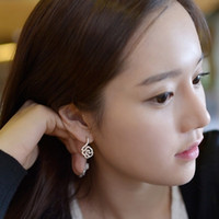 Stud Silver Gold Alloy / Silver / Gold B009 Korean fashion jewelry hollow full of diamond earrings rose flower pendant earrings wholesale new listingfree shipping