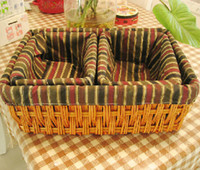 Wholesale Wicker Storage Baskets Weaving Box Bag storing Makeup Underwear Books Toys Snacks BROWN and SUGAR HONEY Color one big two small Three in set
