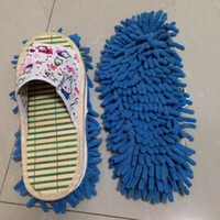 Wholesale 1 Pair Easy Lazy Perfect Cleaning Wipers Bamboo Insole With Chenille Floor Wipes Plush Mop Slippers Non Slip Water Absorb Flip Flop Colorful