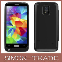 Wholesale Cove Case S4 - 3200mAh External Backup Battery Charger Case Cove for Samsung GALAXY S4 with Flip Case Cover with package UPS FREE