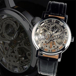 Free shipping Watch for 2013 New Hand-winding Skeleton Leather Mechanical Mens skeleton Watch Wholesales Good Quality