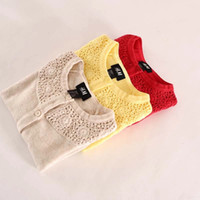 Wholesale 6pcs Baby Girls Hollow Out Lace Cardigan Autumn Long Sleeve Cutout Sweater Outwear Three Colors Drop Shipping SZ0108