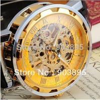 Wholesale New Dress fashion clock style Gold Tone Skeleton Mechanical Men women watch