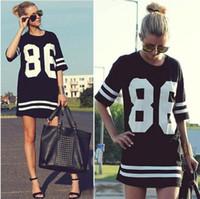 Women V-Neck Long 2014 Summer Women Celebrity Oversized 86 American Baseball Tee T Shirt Top Short Sleeve Loose Dress, Black Plus Size LD0611