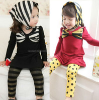 TuTu Summer A-Line Wholesale-MN-Fashion 5pc lot Sping Autumn Style Cotton Chest Big BOW Baby Girl Dress Blouse Long tops For Kids Children Black Red