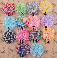 Wholesale 2 quot DIY Tulle Chevron Shabby Chiffon Flowers Hair Accessories Fabric Flowers For Headbands Photo Props