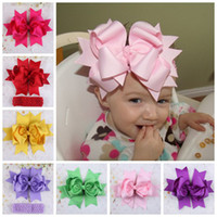 Hair Bows Silk Floral Big Satin Ribbons Hair Clips Crochet Headbands Baby Flower Hairband Girl Hair Accessories 20PCS LOT Free Shipping