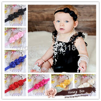 Wholesale 15 Color Triple quot Mini Satin Ribbon Rose Flowers Headbands Baby Headband Photo Props In Girls Hair Accessories