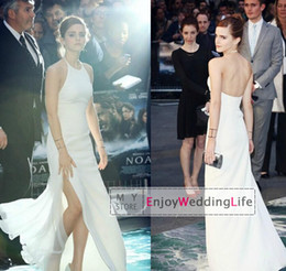 Wholesale 2014 Emma Watson Celebrity Evening Dresses Halter Neck White Chiffon Side Slit Backless Floor Length Sheer Prom Gowns BO5854