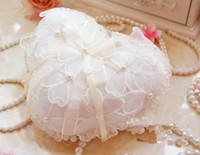 Wholesale Small heart Pillow Ivory Satin with organza flower and Pearl bride Ring Pillows X16CM