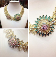 Chokers Bohemian Women's 2014 High Quality necklaces & pendants fashion costume chunky choker flower necklaces luxury statement jewelry women