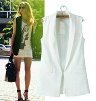 Wholesale A1 x281 European brand white black Single Button Formal Long vest casaco feminino suit women blazers and jackets ladies