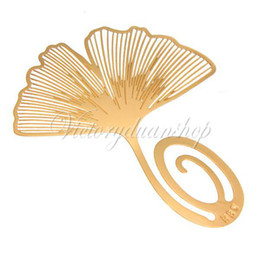 Wholesale 5pcs Creative Beautiful Reading Golden Ginkgo Biloba Personality Bookmark Pagemarkers Christmas Gift