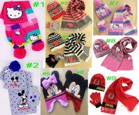 Unisex Spring / Autumn Crochet Hats Free Retail 2014 New Style cartoon Baby Girls' Winter Knitting Hats +Scarf+Gloves Suit Baby car Cartoon Caps
