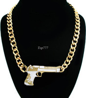 Wholesale 2014 New Trendy K Gold Plated Gun Pistol Pendant Chain Designer Inspired Necklace Jewelry for Women