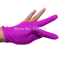 Wholesale New Nylon Violet Billiards Snooker Cue Shooters Billiard Table Three Finger Left Or Right Hand Gloves