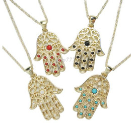 3PCS LOT New arrivals unique hamsa hand necklace with multi colors stones paved fashion jewelry