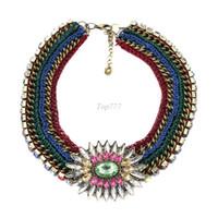 Chokers Bohemian Women's #241 2013 High Quality necklace fashion crystal costume chunky choker bib necklaces pendants luxury statement jewelry women