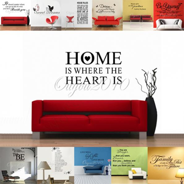 Diy mural home is where the heart is removable pvc vinyl for Wallpaper home is where the heart is