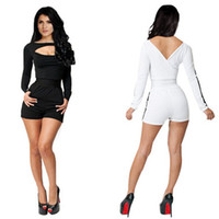 Polyester, Spandex Regular Panelled Lowest Price ! Bandage Dress Women New Fashion Sexy Long Sleeve Spring White and Black Patchwork Celebrity Bodycon Bandage Jumpsuit