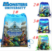 Wholesale Retail styles Monsters University of sided printed nonwoven fabric Drawstring Bag beam port schoolbag