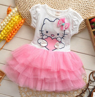 Wholesale pink red kids girls new summer hhello kittyy yarn cake dress skir t2 year