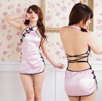 Wholesale 2014 New Lady girl Sexy Satin Lingerie Sleepwear Nightdress PInk Cheongsam Chinese Dress Women Pajamas Included T pants