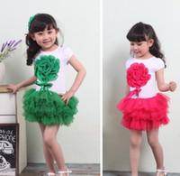 Wholesale color kids girls new summer chiffon flower yarn cake tutu children s Dresses year A18