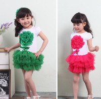 Wholesale color kids girls new summer chiffon flower yarn cake tutu children s Dresses year A18