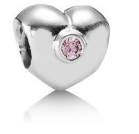 Wholesale 925 Sterling Silver Cubic Zirconia Pink Stone Heart Charm Threaded Beads For Pandora Bracelet